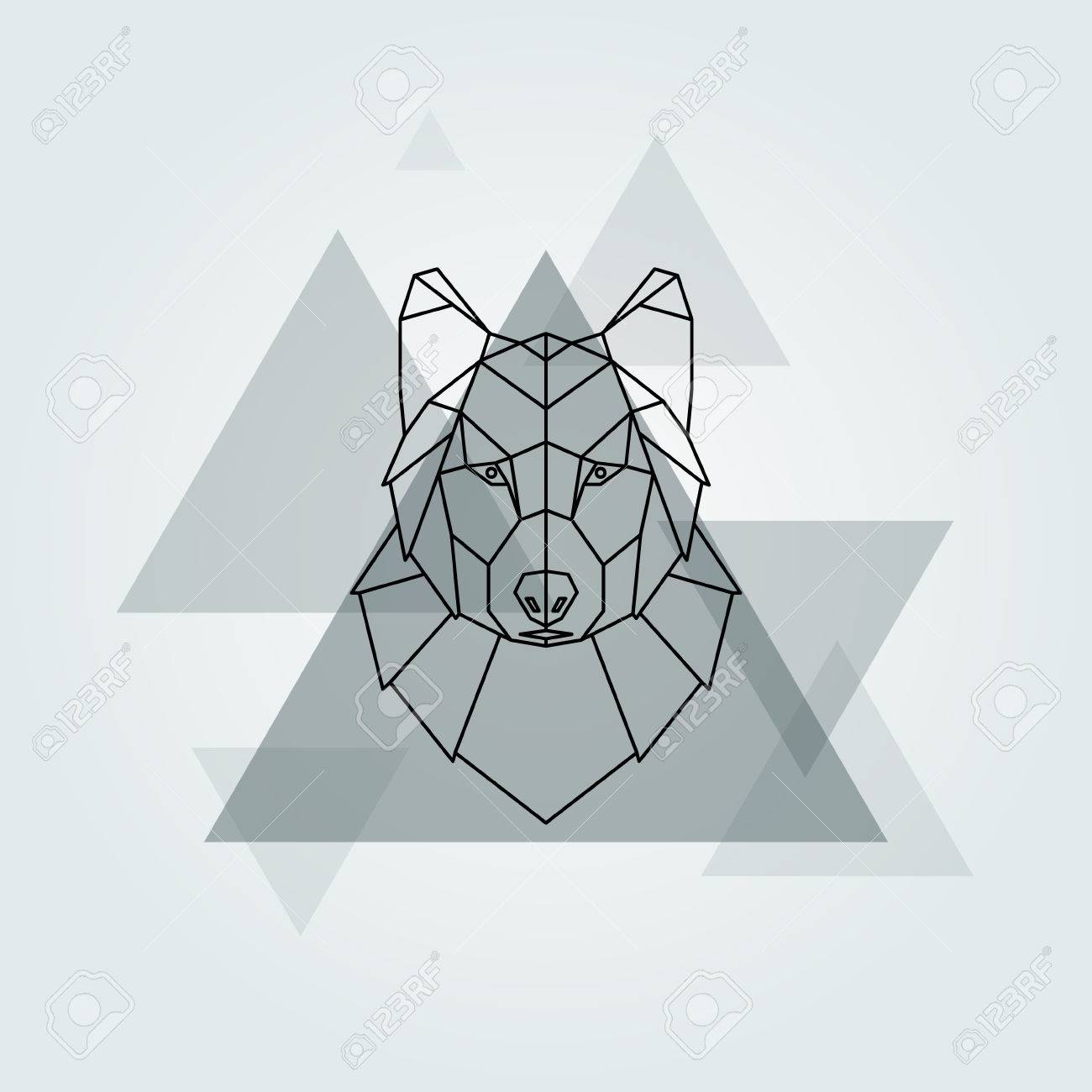 Geometric Vector Animal Grey Wolf Head Background. Stock Vector   68754852
