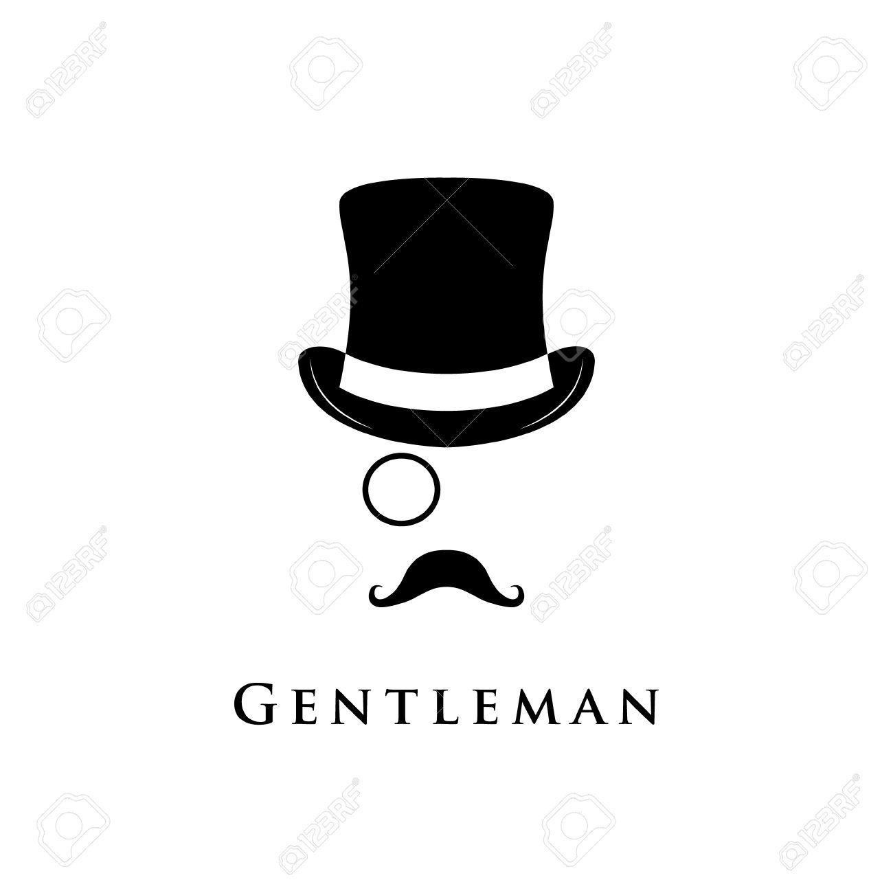 紳士のロゴ円柱帽子ヒゲモノクルのベクトル イラストのイラスト