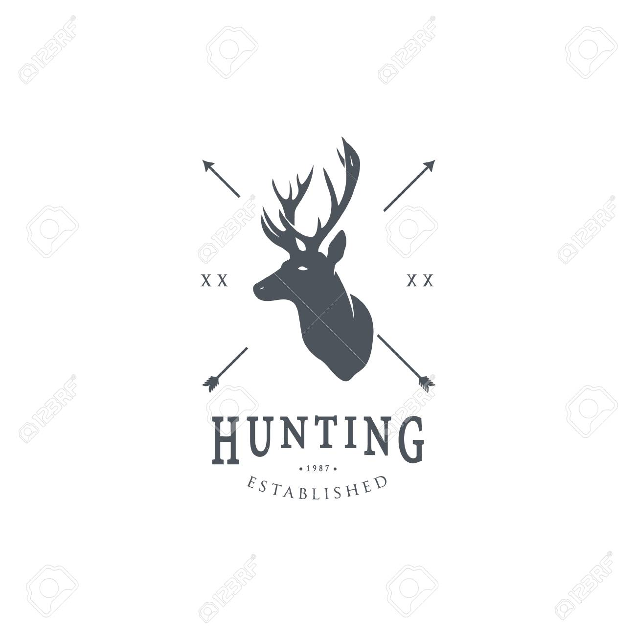 Hunting Logo Template. Deer Head And Horns Silhouette Isolated ...