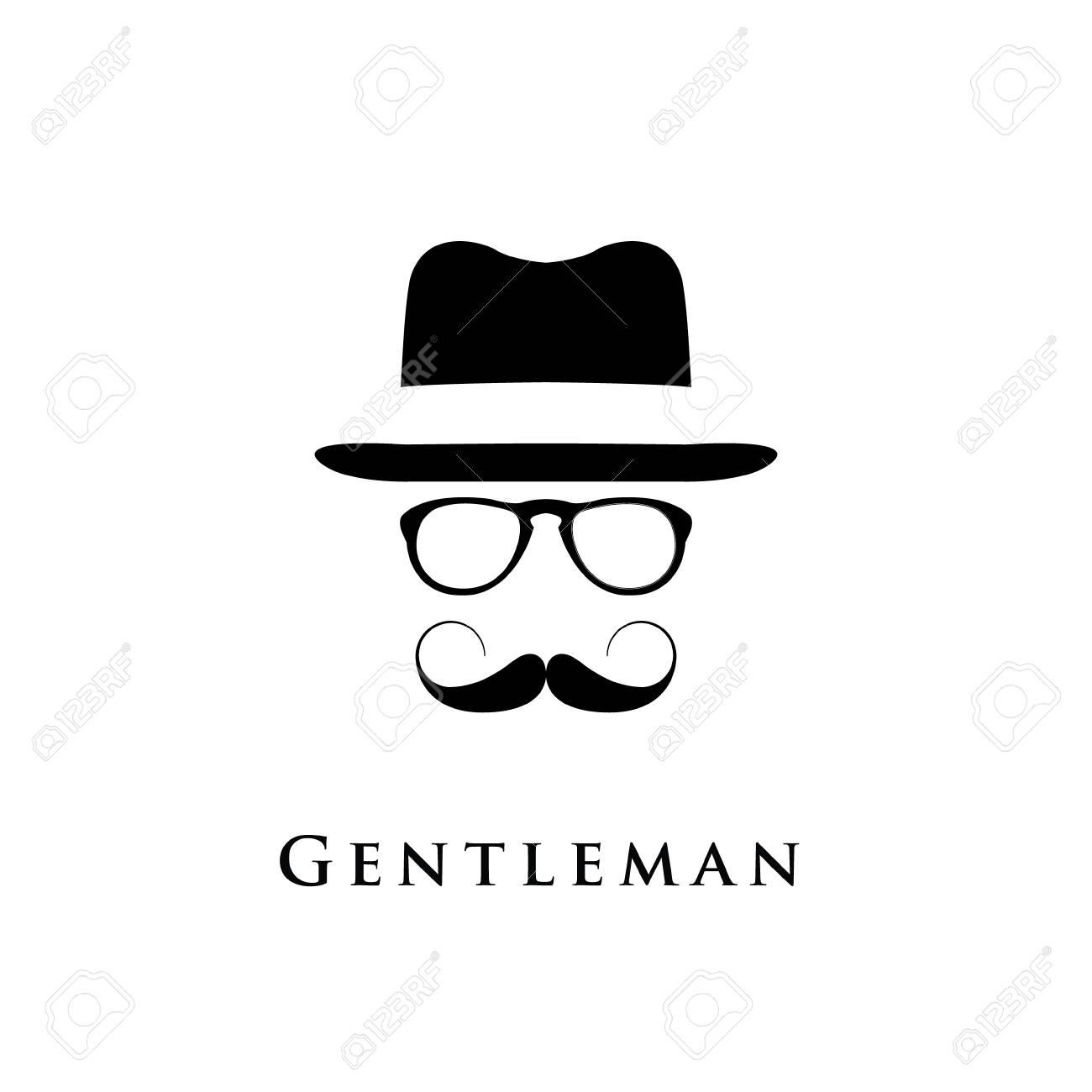 紳士のロゴヴィンテージの帽子ヒゲとメガネのベクトル イラストの