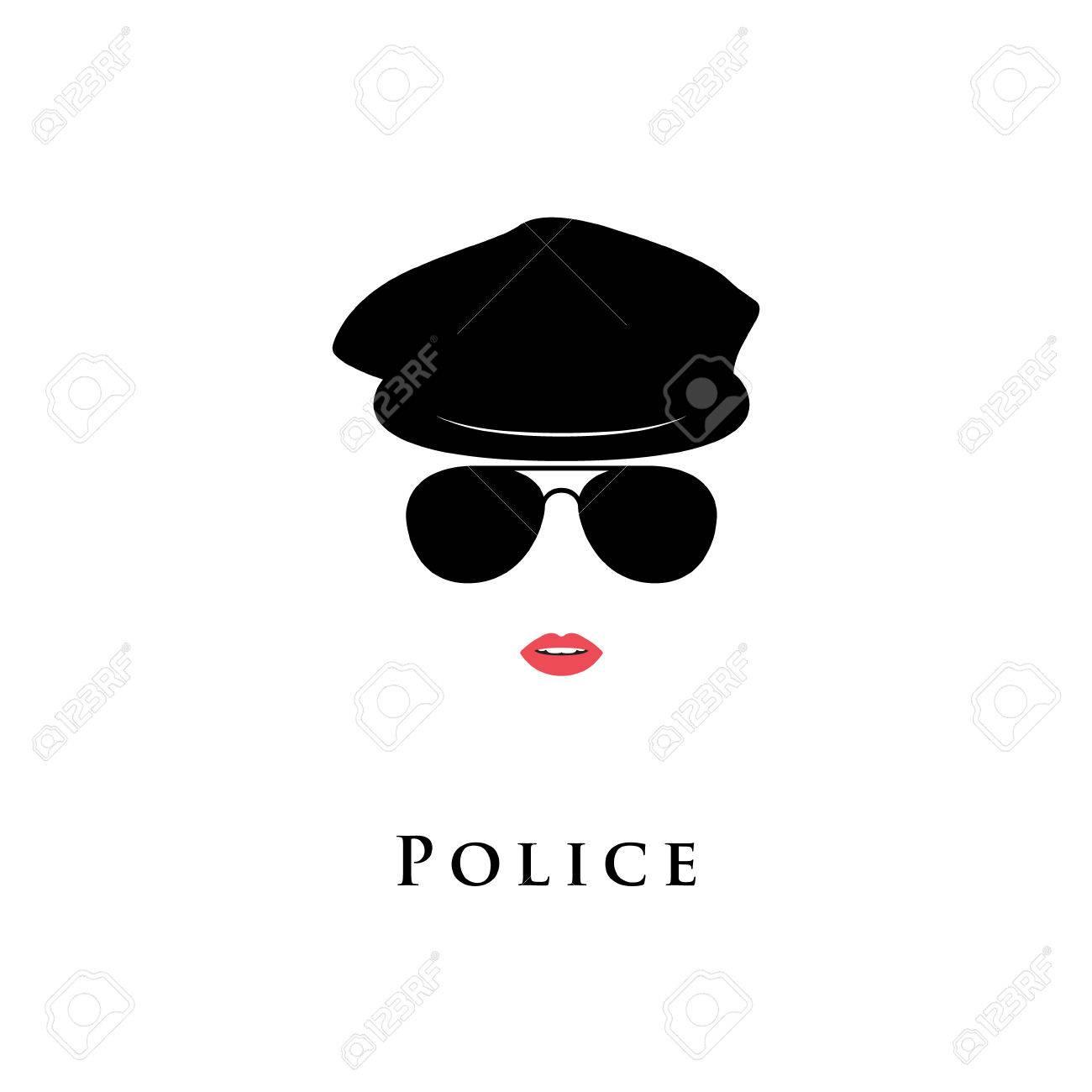 Agente De Policía. COP Chica En La Boina Y Gafas De Sol. Ilustración ... 90984399b7e