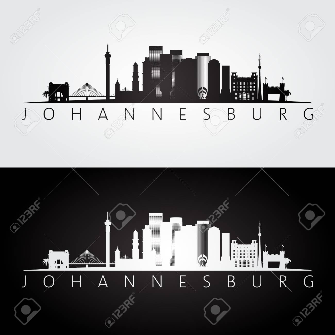 Johannesburg skyline and landmarks silhouette black and white johannesburg skyline and landmarks silhouette black and white design vector illustration stock vector thecheapjerseys Images