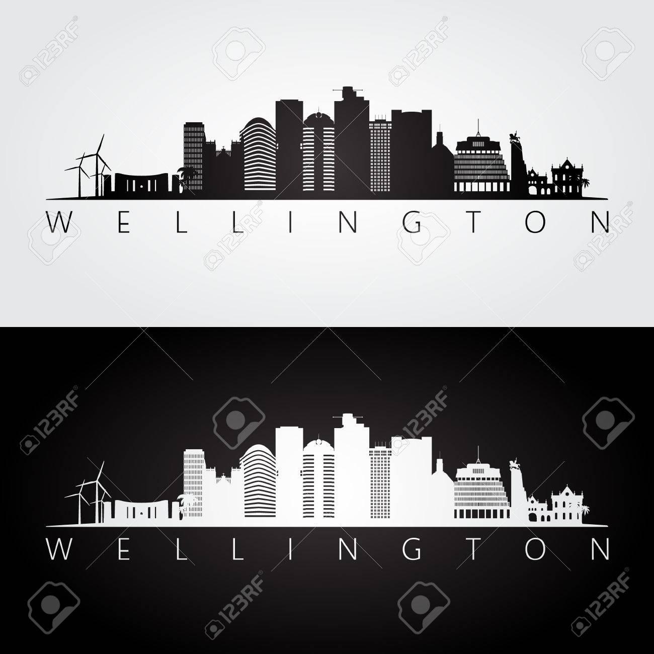 Wellington skyline and landmarks silhouette, black and white design, vector illustration. - 77474856