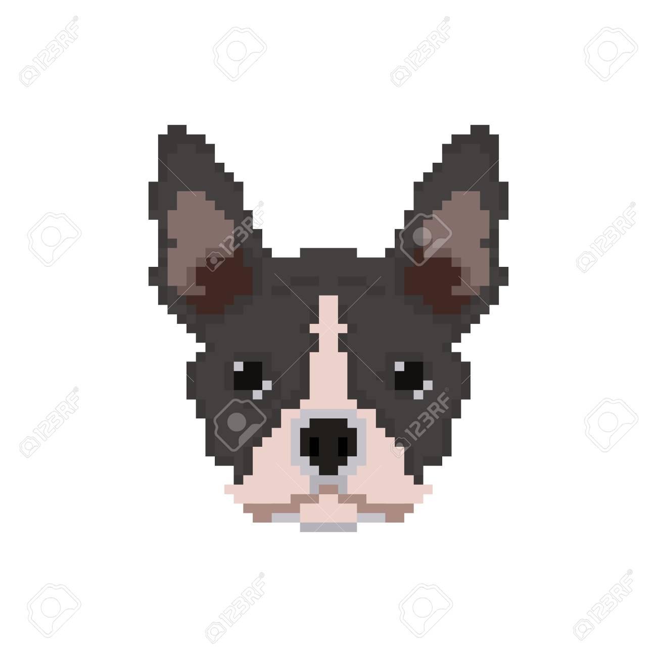 Tête De Bouledogue Français Dans Le Style Pixel Art Illustration Vectorielle De Chien