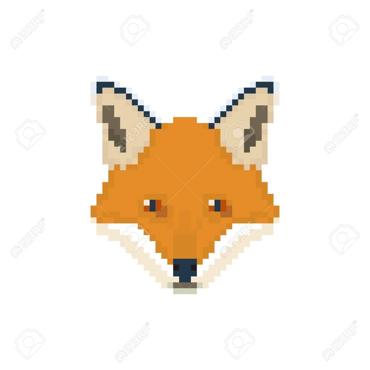 Tête De Renard Dans Le Style Pixel Art Illustration De Vecteur Animal Sauvage