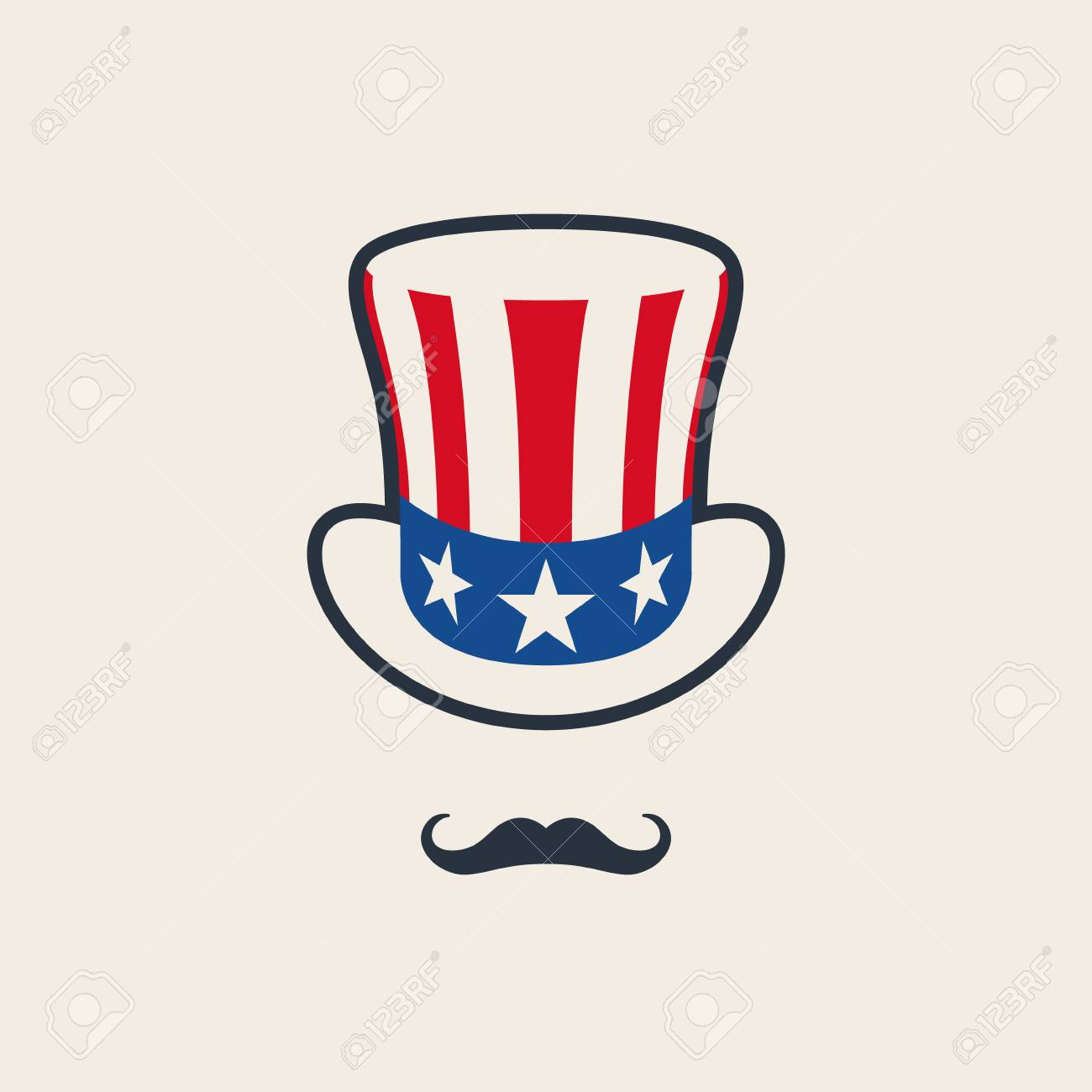 Uncle Sams Symbol Hat With Mustache Concept Of American Freedom