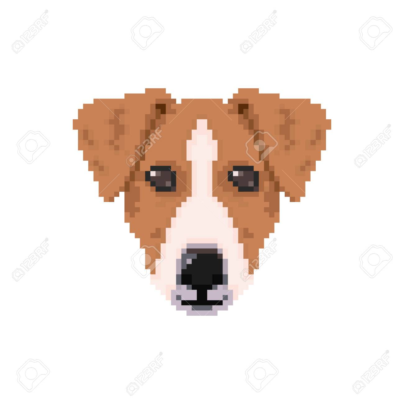 Jack Russell Dog Head In Pixel Art Style Vector Illustration