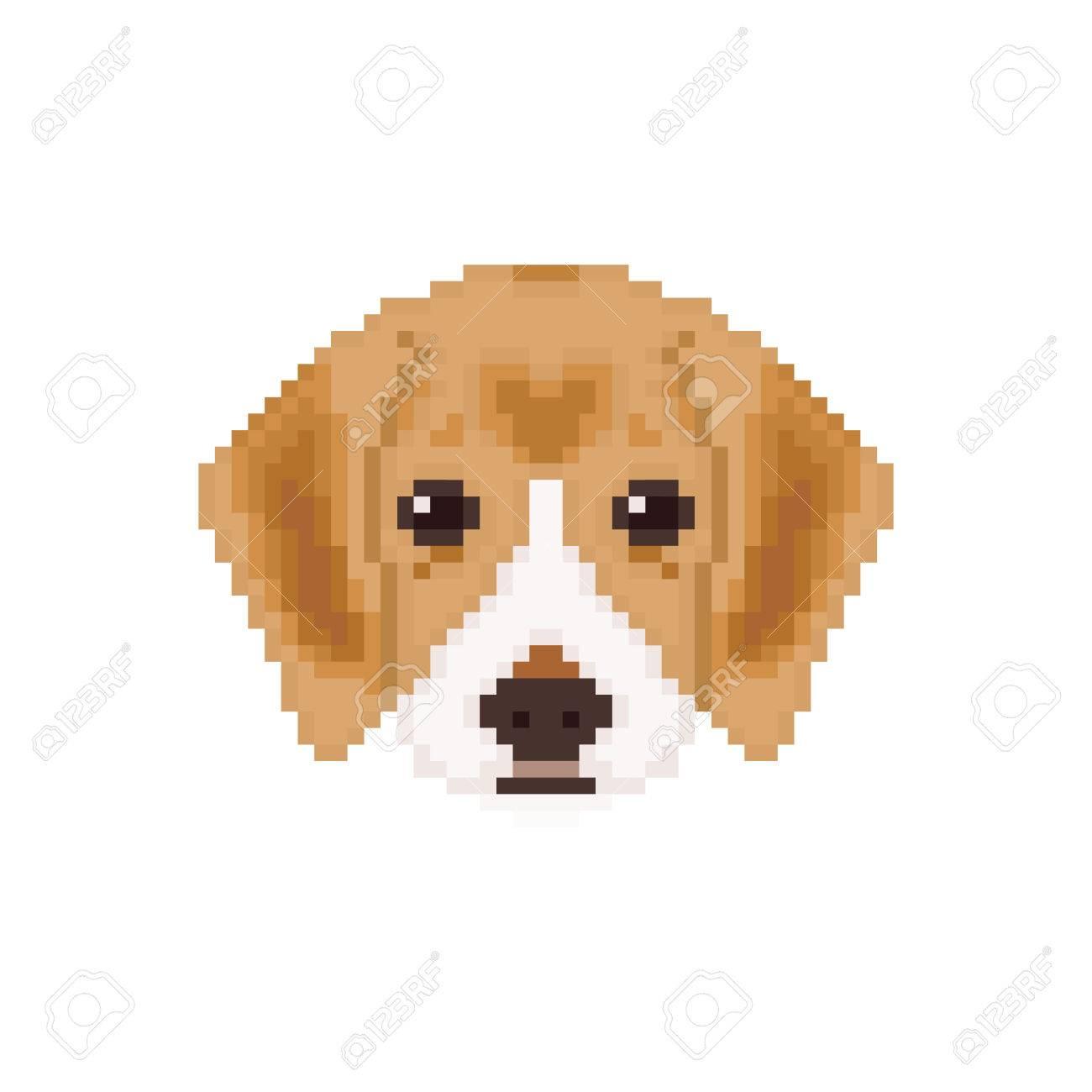 Beagle Puppy Head In Pixel Art Style Dog Vector Illustration