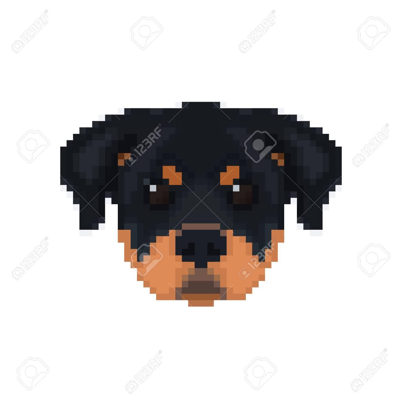 Tête De Rottweiler En Style Pixel Art Illustration Vectorielle De Chien