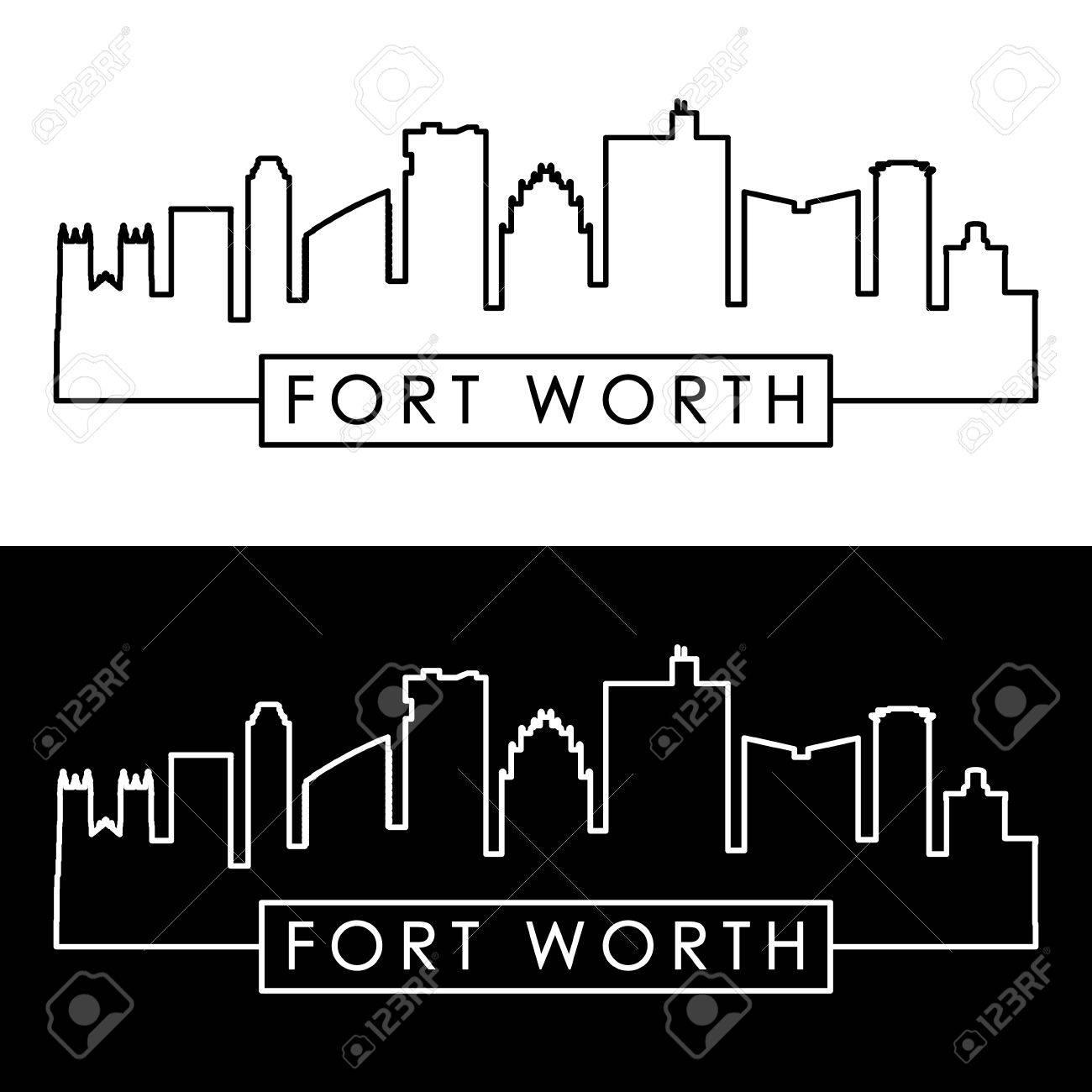 Fort Worth skyline. Linear style. Editable vector file. - 83407911