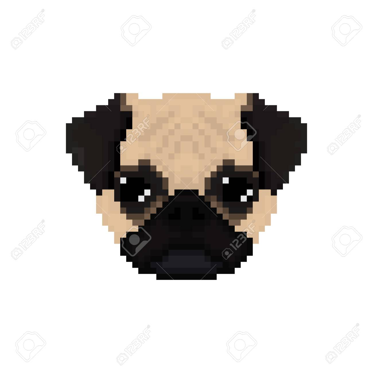 Mops Dog Head In Pixel Art Style Vector Illustration