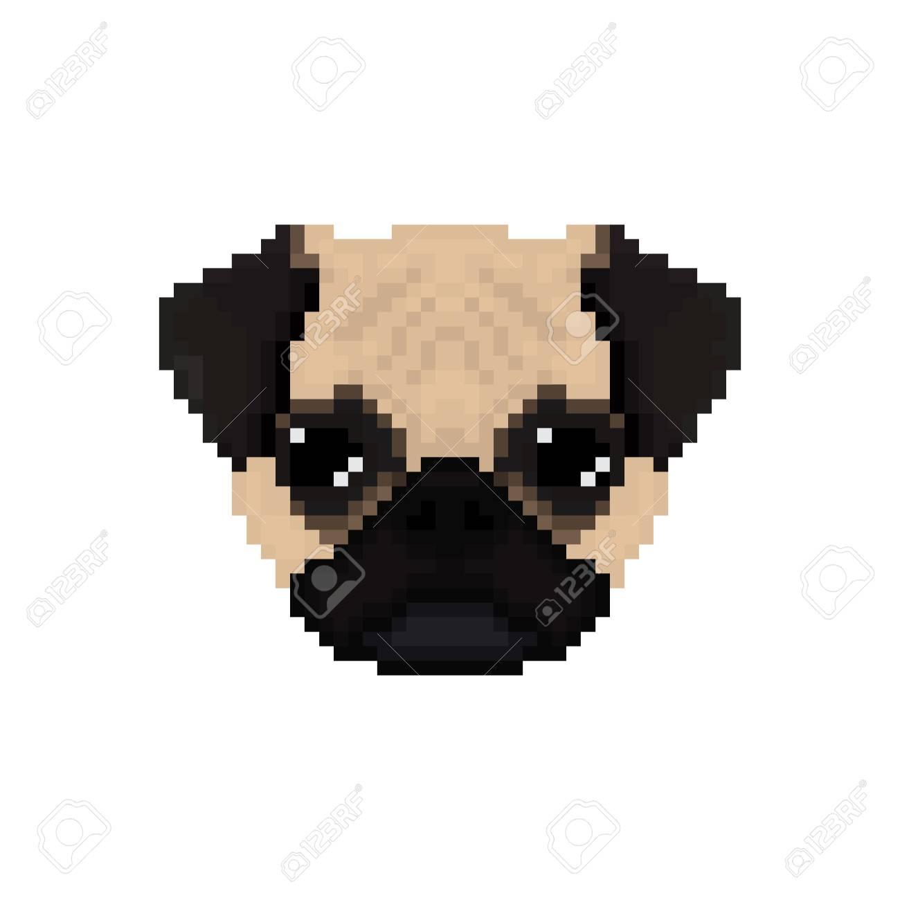 Mops Tête De Chien En Style Art Pixel Illustration Vectorielle