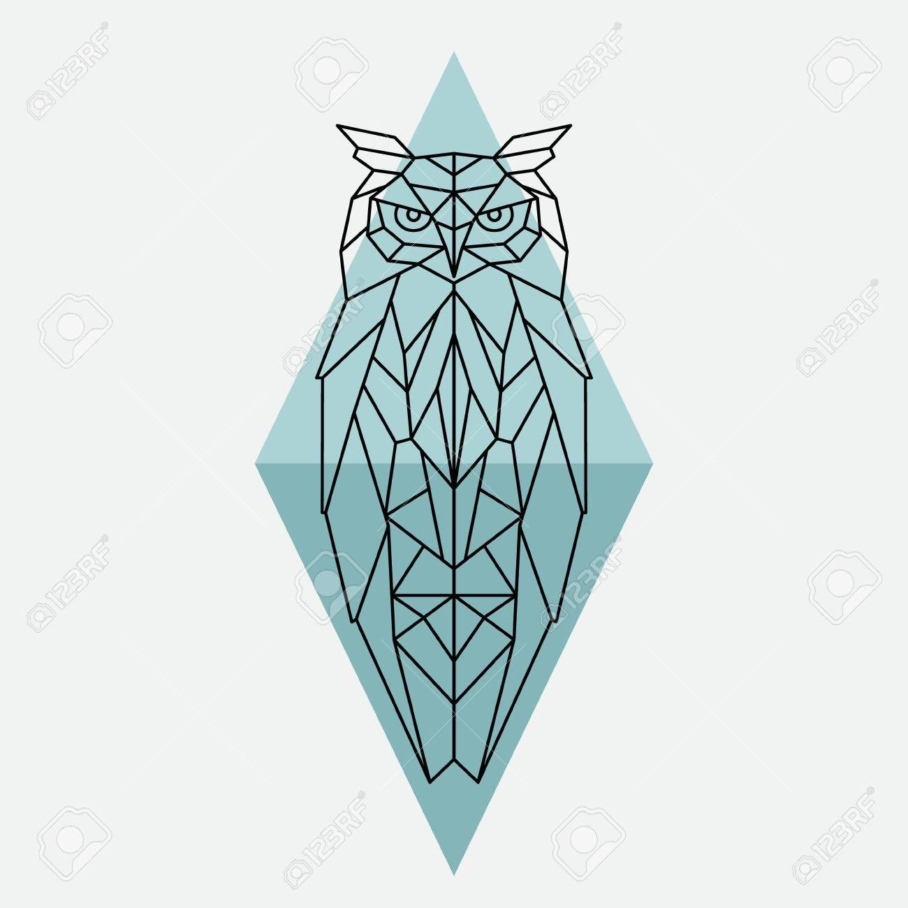 Búho Geométrico Ilustración De Animales Salvajes Ilustraciones