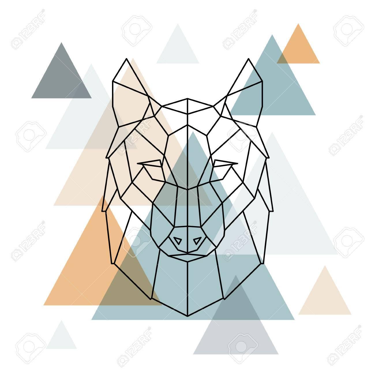 Illustration De Loup Géométrique Dessin Au Trait De Vecteur Low