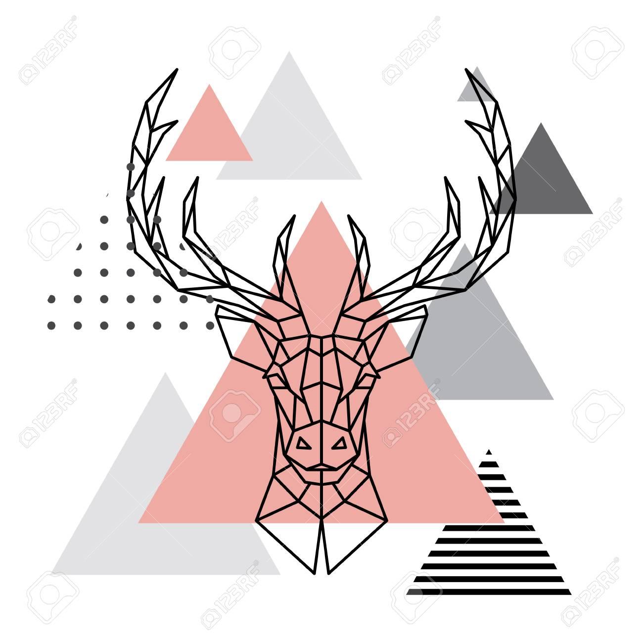 Tête Géométrique D Un Cerf Sur Un Fond Scandinave