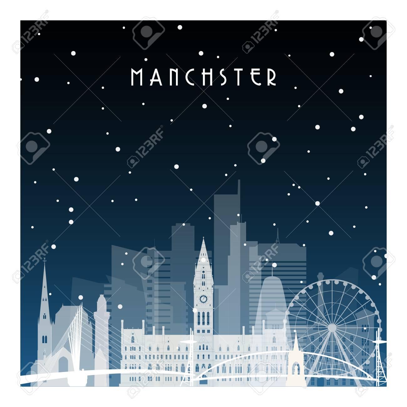マンチェスターの冬の夜。バナー、ポスター、イラスト、ゲーム、背景の