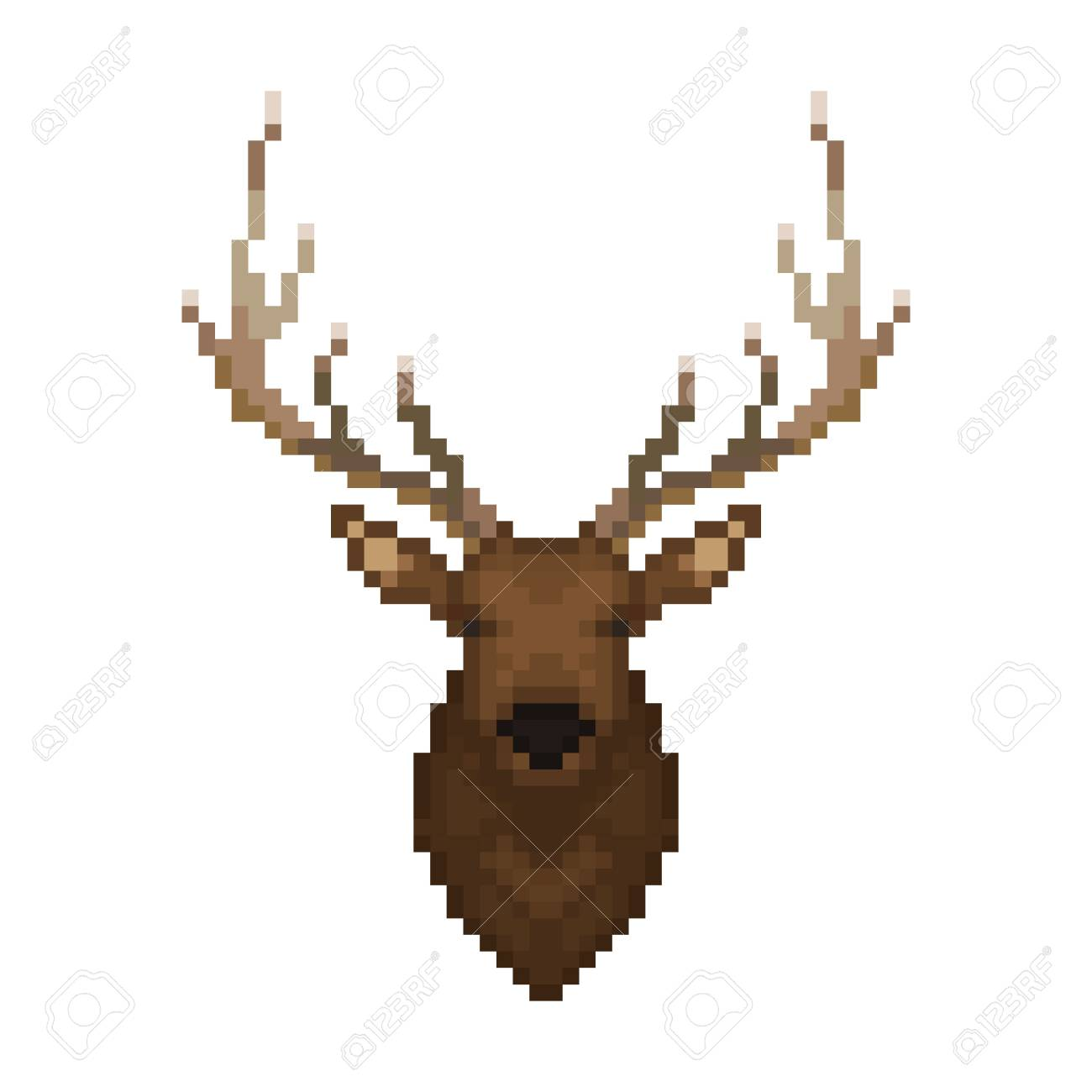 Deer Head Pixel Art Wild Animal Vector Illustration