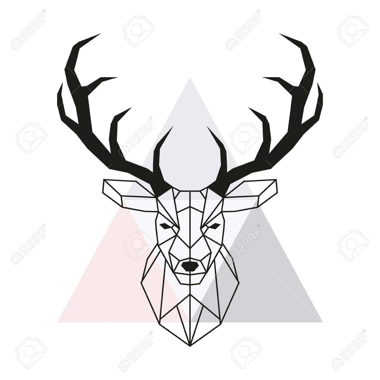 Vector Geometric Deer Head Stag Head And Antlers Low Poly Style