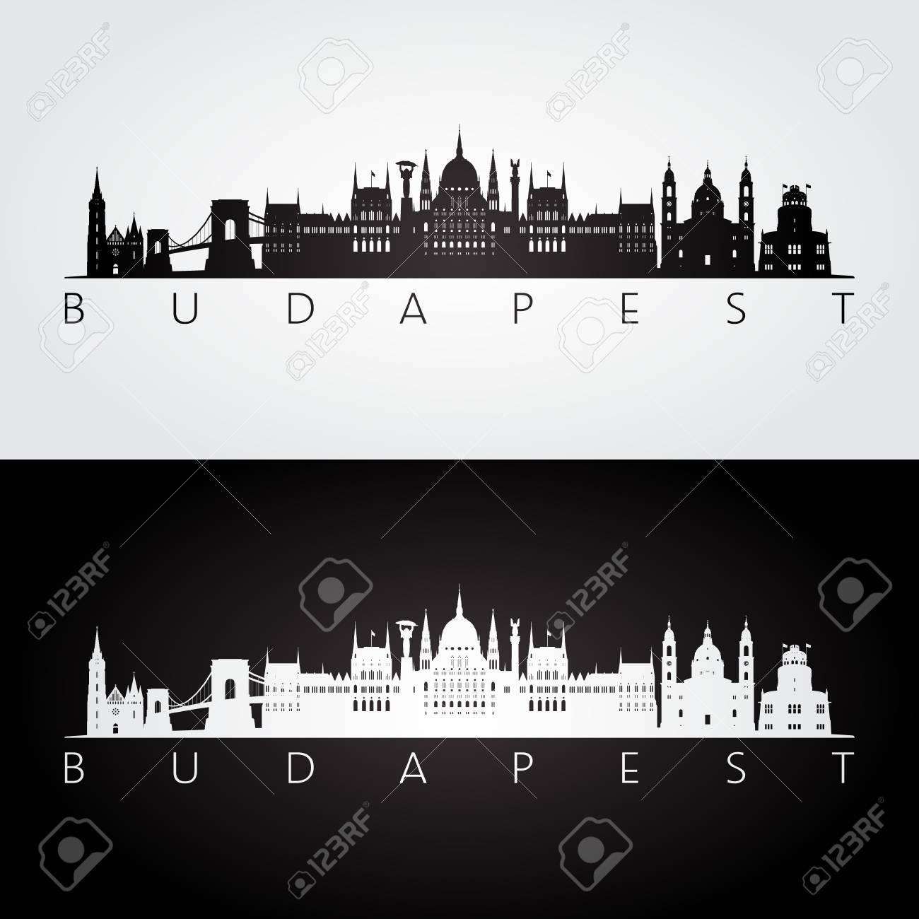 Budapest skyline and landmarks silhouette, black and white design, vector illustration. - 97055184