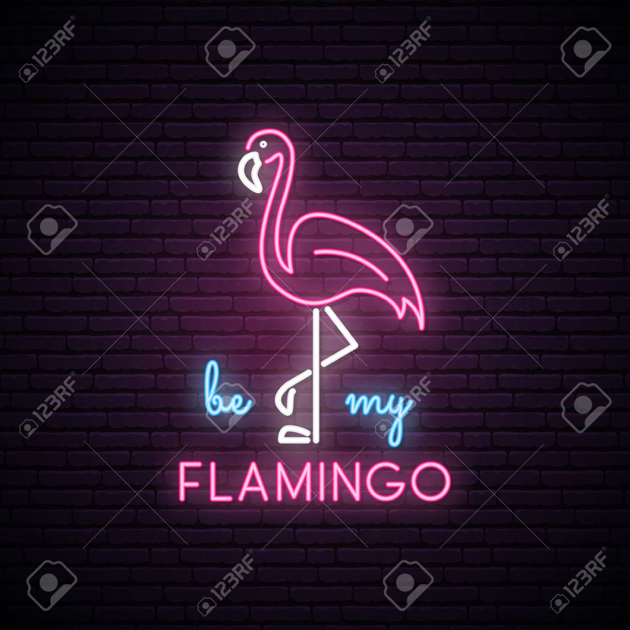 Silhouette Of Neon Pink Flamingo With The Inscription Be My
