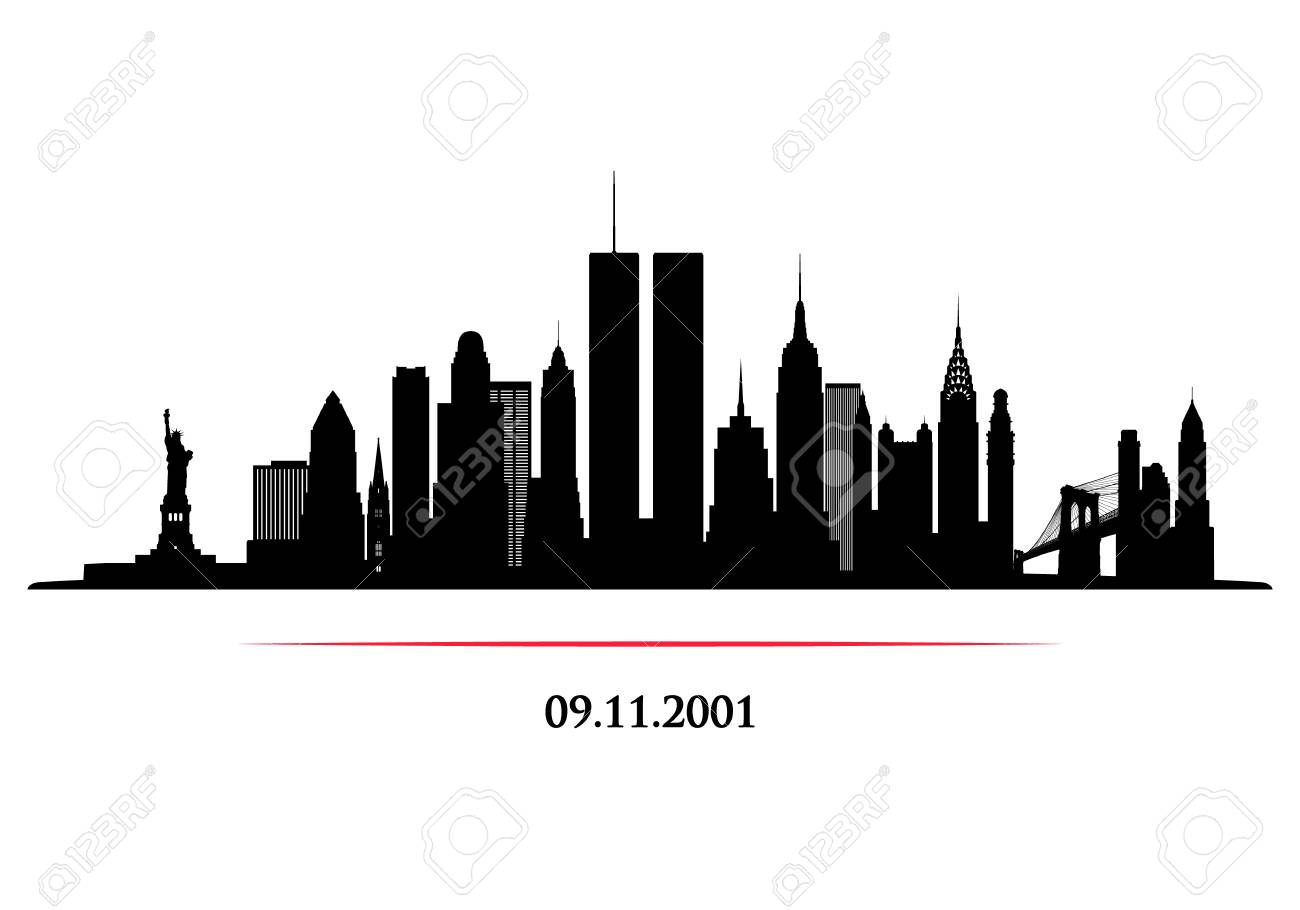 New York City Skyline with twins tower. World Trade Center. 09.11.2001 American Patriot Day anniversary banner. Vector illustration. - 112082280