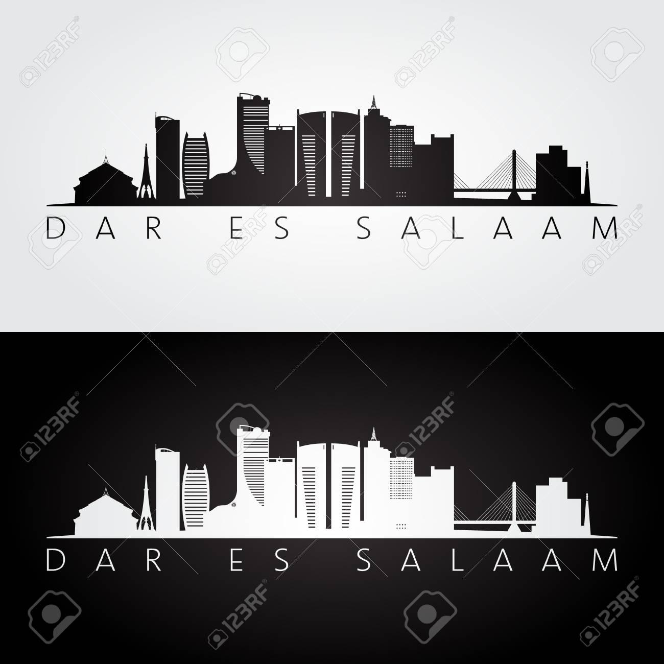 Dar es Salaam skyline and landmarks silhouette, black and white design, vector illustration. - 113408936