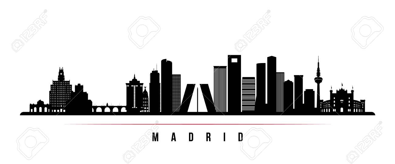 Madrid Skyline Horizontal Banner Black And White Silhouette Of Madrid Spain Vector Template For Your Design Royalty Free Cliparts Vectors And Stock Illustration Image 132276626