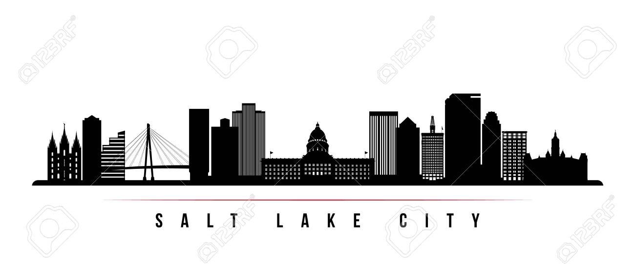 Salt Lake City skyline horizontal banner. Black and white silhouette of Salt Lake City, Utah. Vector template for your design. - 132276871