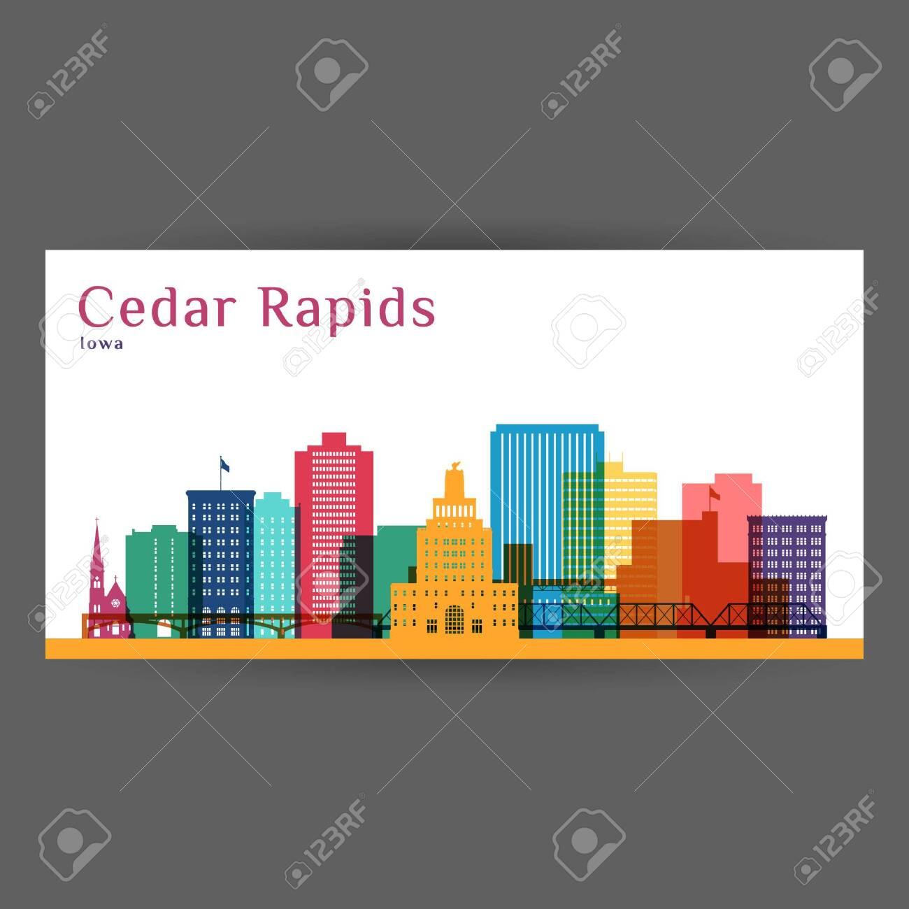Cedar Rapids colorful architecture vector illustration, skyline city silhouette, skyscraper, flat design. - 139809467