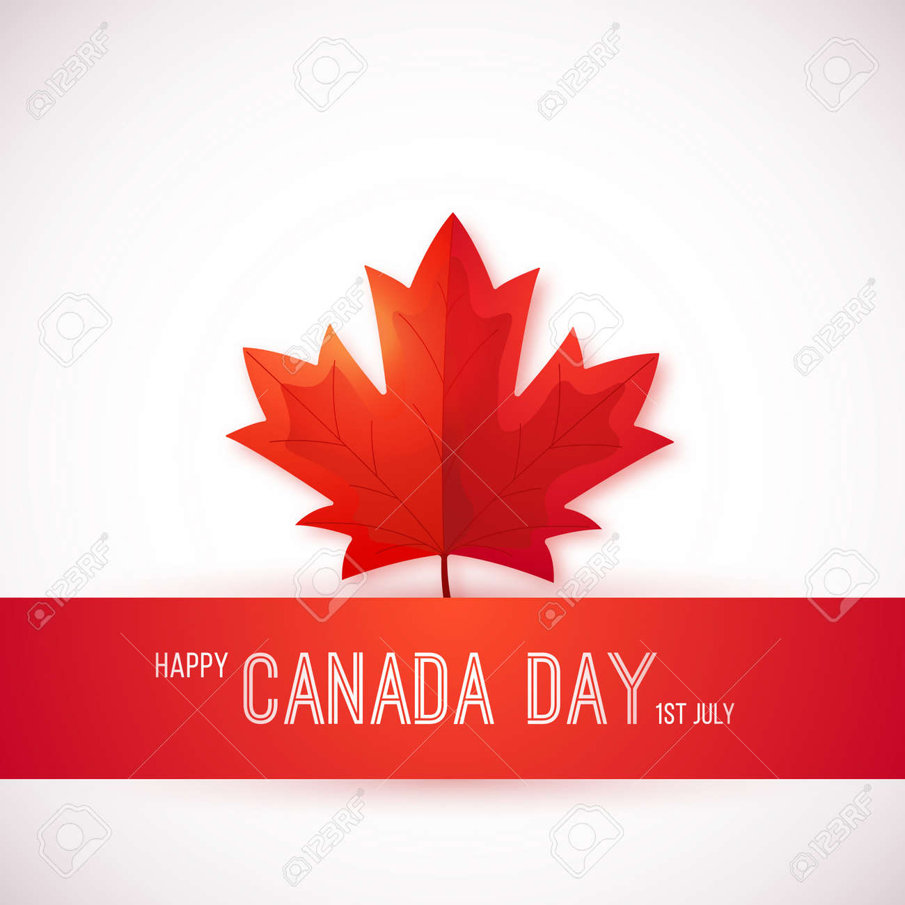 1st July, Canada Day. Design template with red maple leaf. Happy Canada day greeting card. Vector background. - 151165576