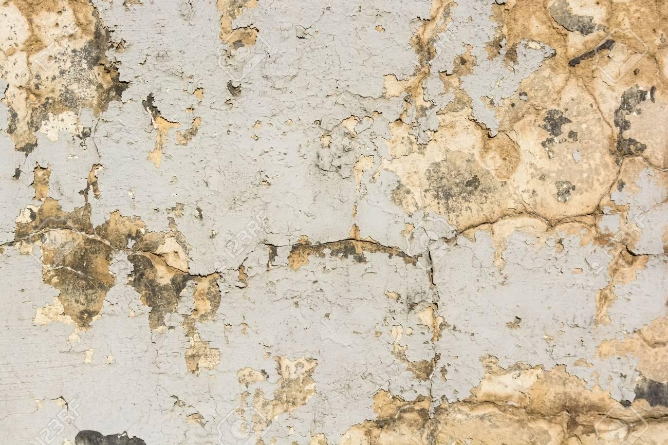 Peinture Craquelée Beige Sur La Vieille Surface De Mur De Plâtre