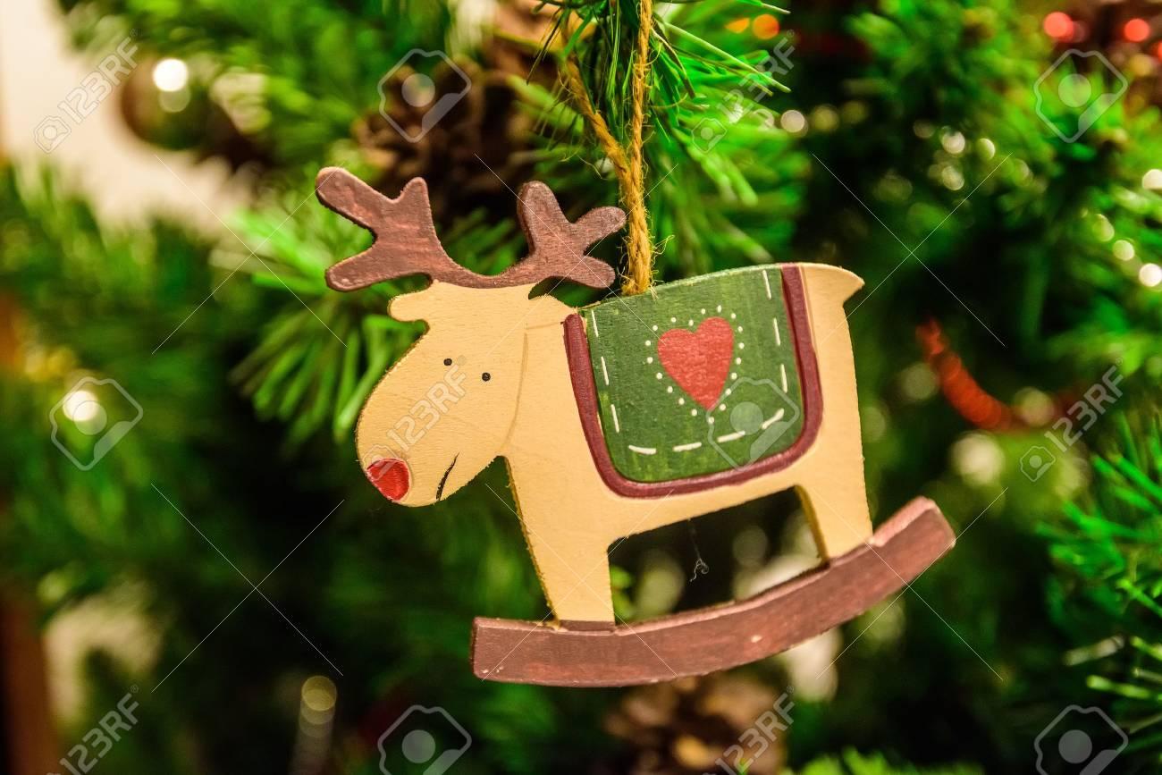 christmas tree decoration wooden deer stock photo 80541902