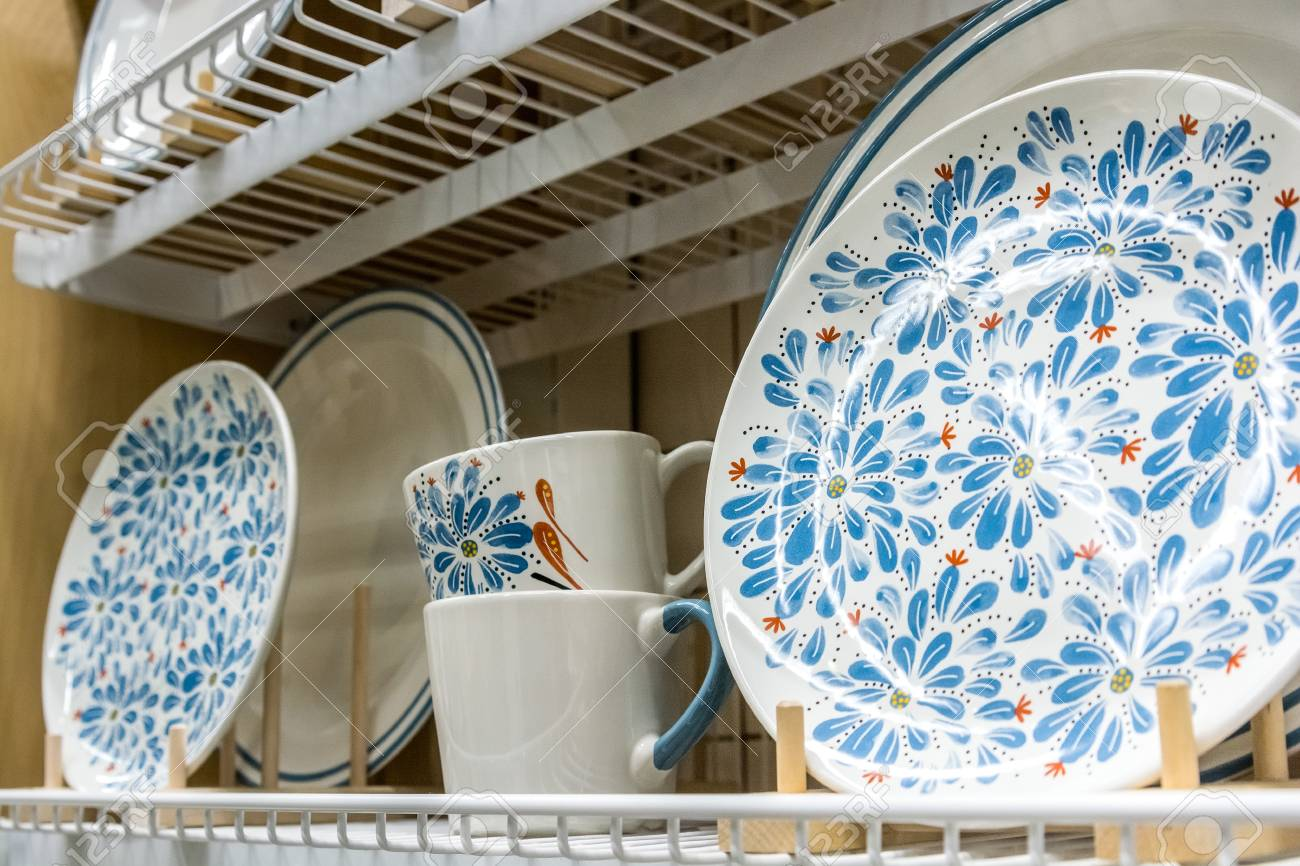 Close Up Several Ceramic Plates And Cups With Blue Flower Pattern ...