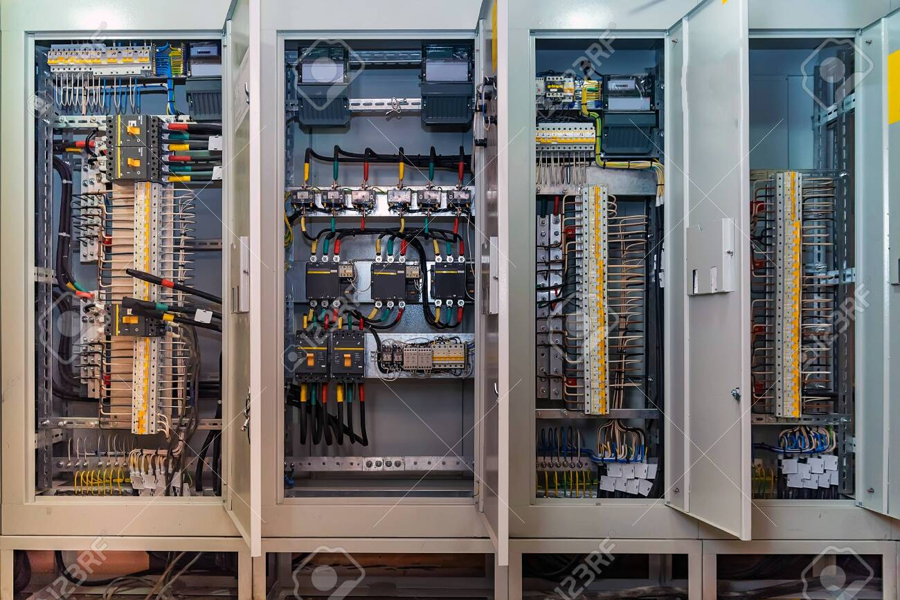 Open circuit board connection or eletrical panel in modern building - 120087573