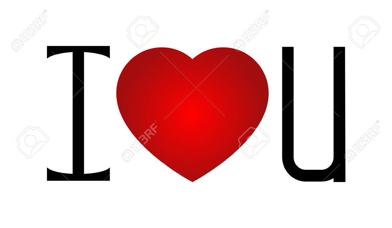 I Love U With A Red Heart In The Center Royalty Free Cliparts
