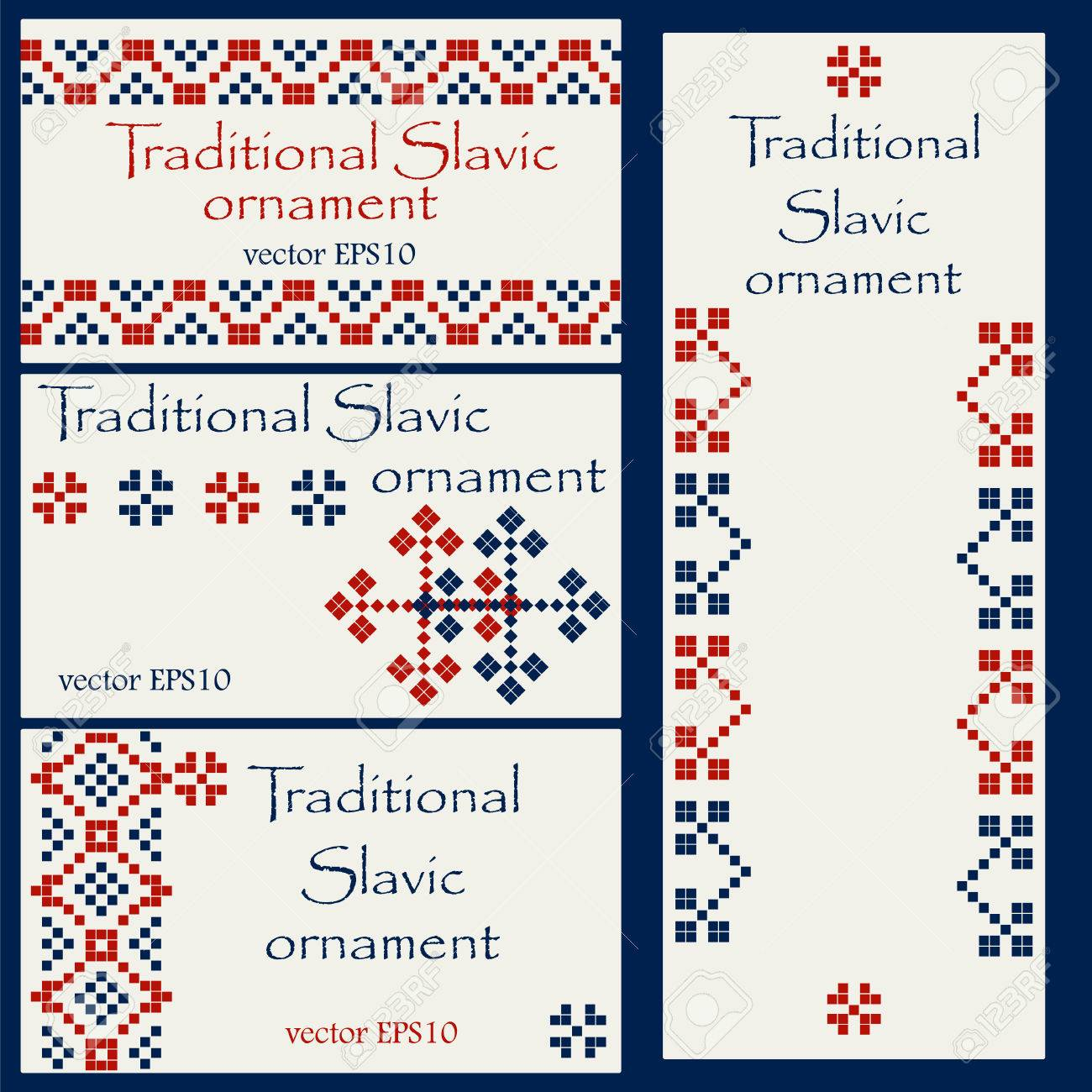 Business Card Templates With Traditional Slavic Ornament For