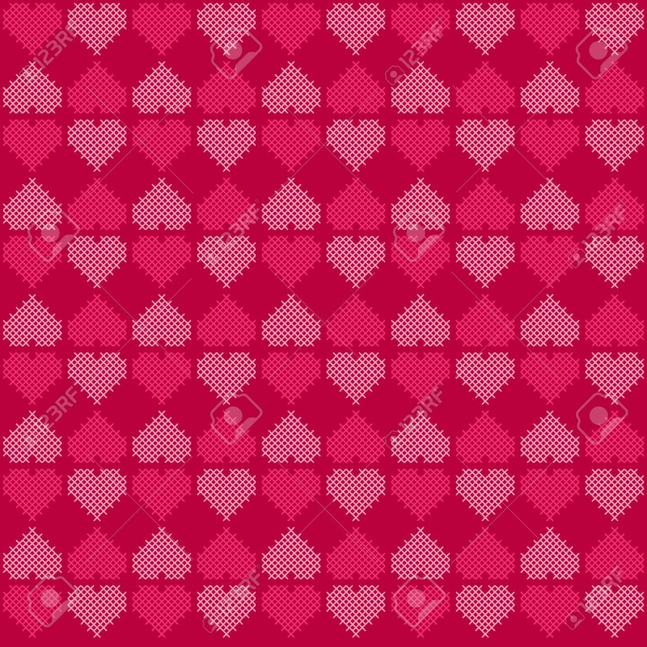 Herz-Formen Von Rosa Farben Durch Kreuzstich-Stickerei-Muster ...