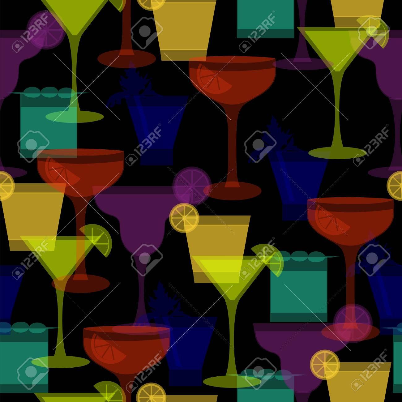 cocktail silhouetten nahtlose muster vektor illustration mit verschiedenen glsern und getrnken fr getrnkekarte - Getrankekarte Muster
