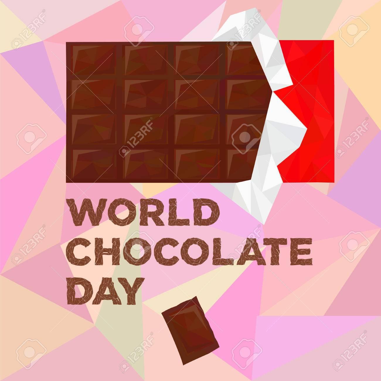 世界のチョコレート日低ポリゴン スタイルの銀と赤のパッケージ内のバー