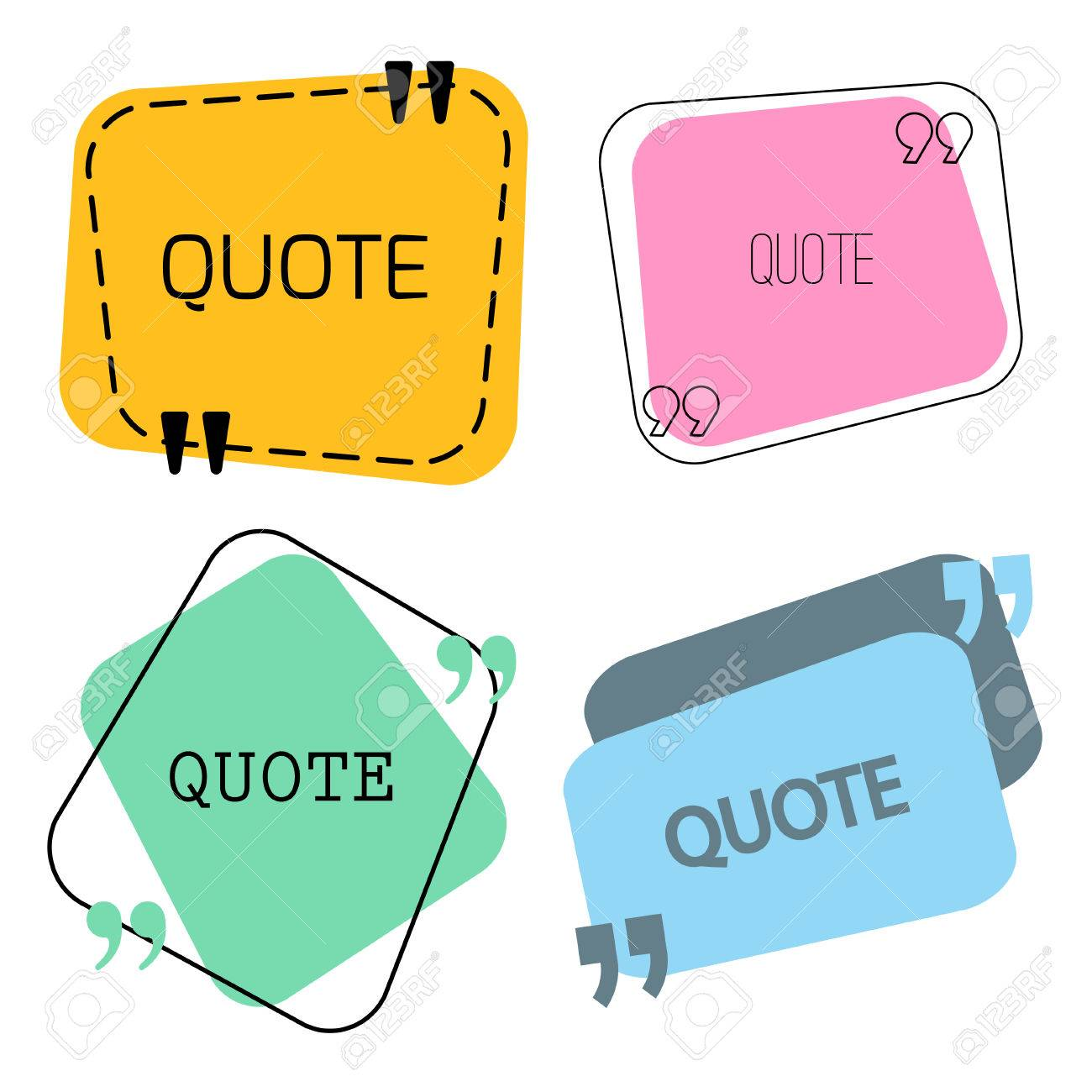 quotes frame and sign set vector stock illustration for chat