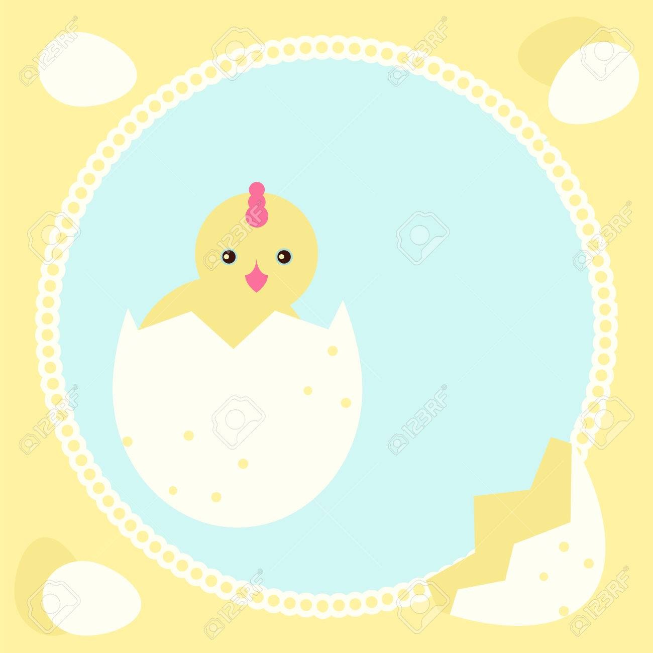 Greeting Card Template With New Born Chicken Stock Vector