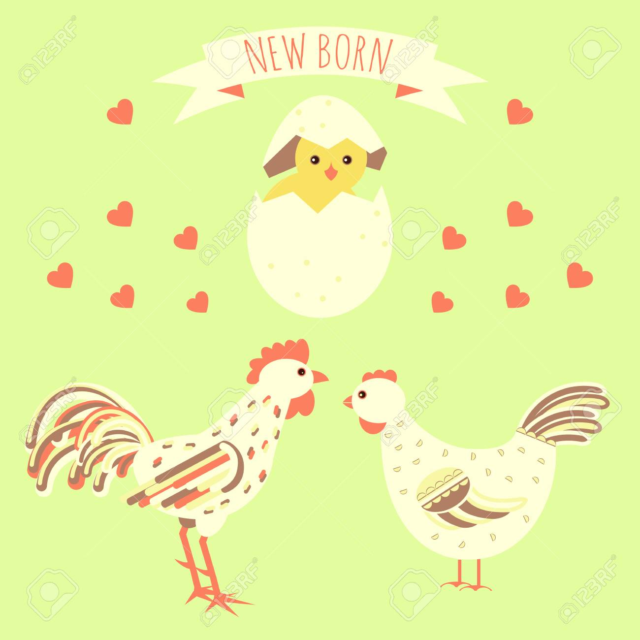 Greeting Card Template With New Born Chicken And Bird Parents