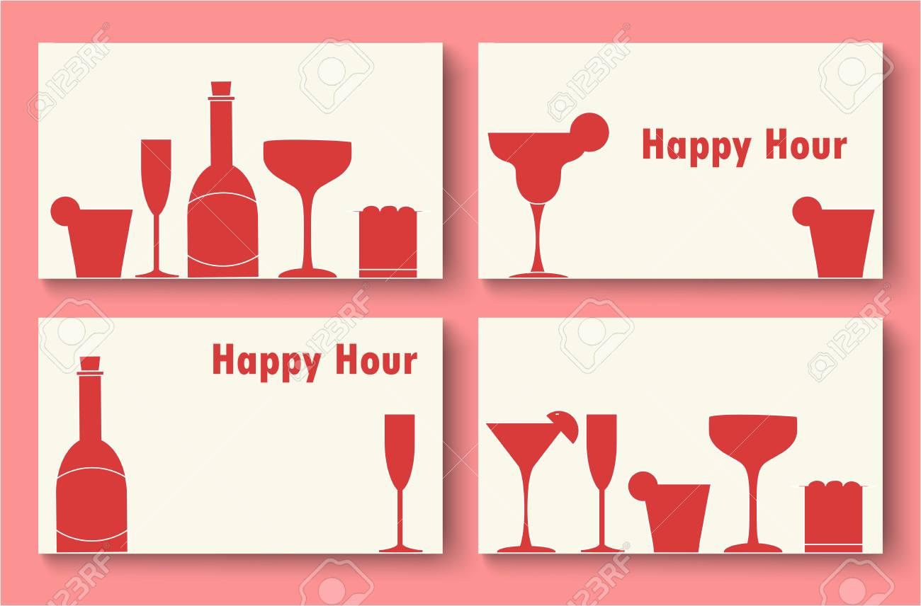 Happy Hour Modle De Carte Visite Sertie Silhouette Bouteille Rouge Et Diffrentes Icnes Verre Dans Un Style Minimal