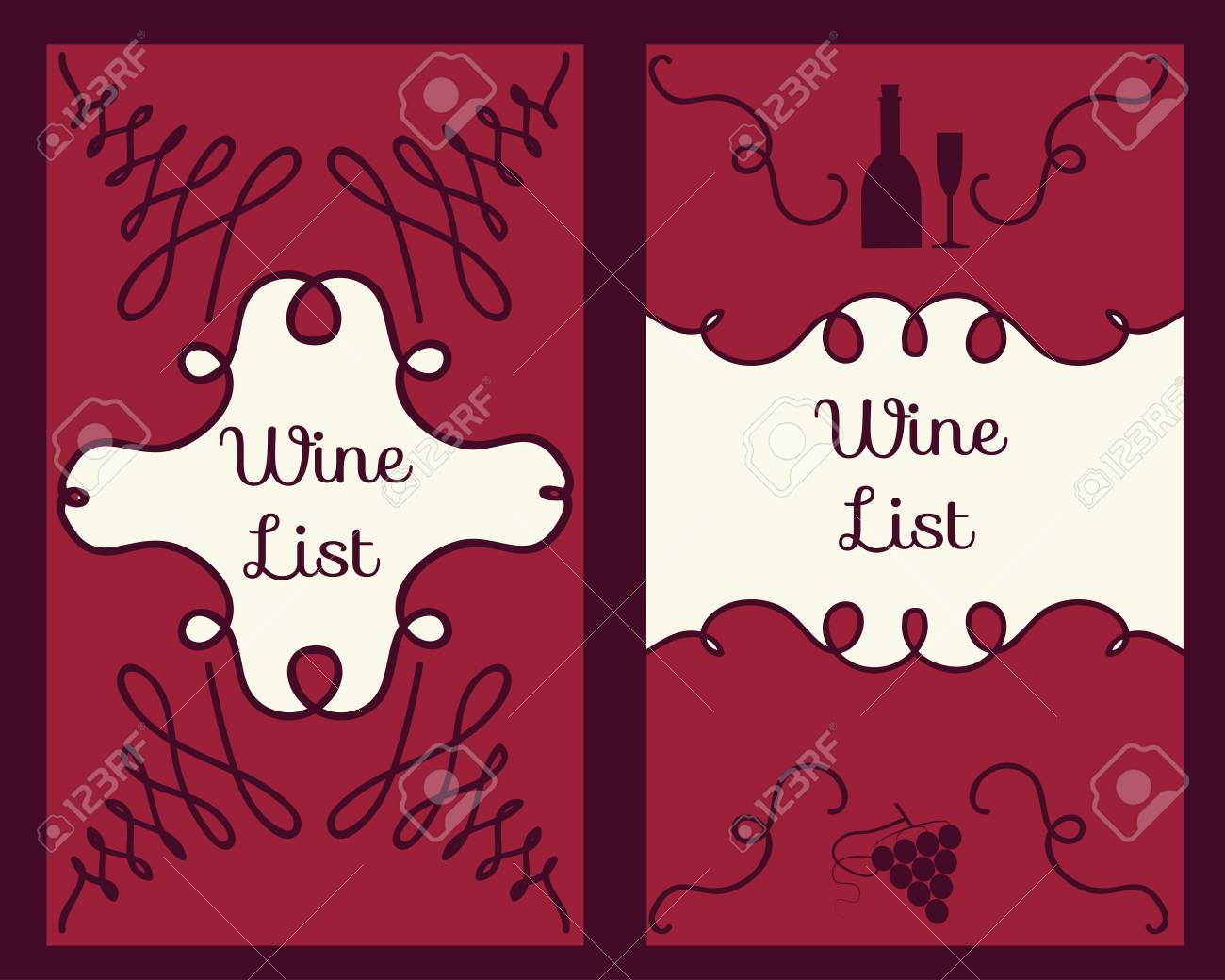 Wine Flyer And Cards Template Set With Grape Brunch And Leaf