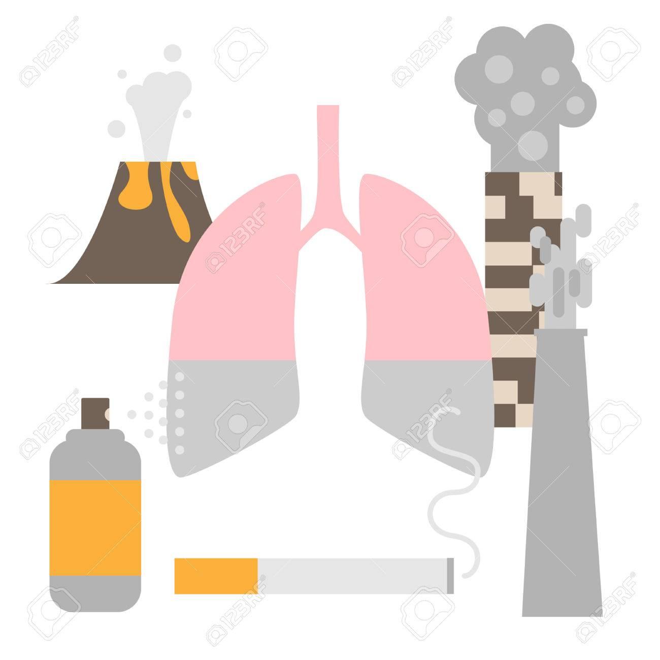 大気汚染は肺疾患概念を誘発します在庫あり影響を受ける臓器の主な