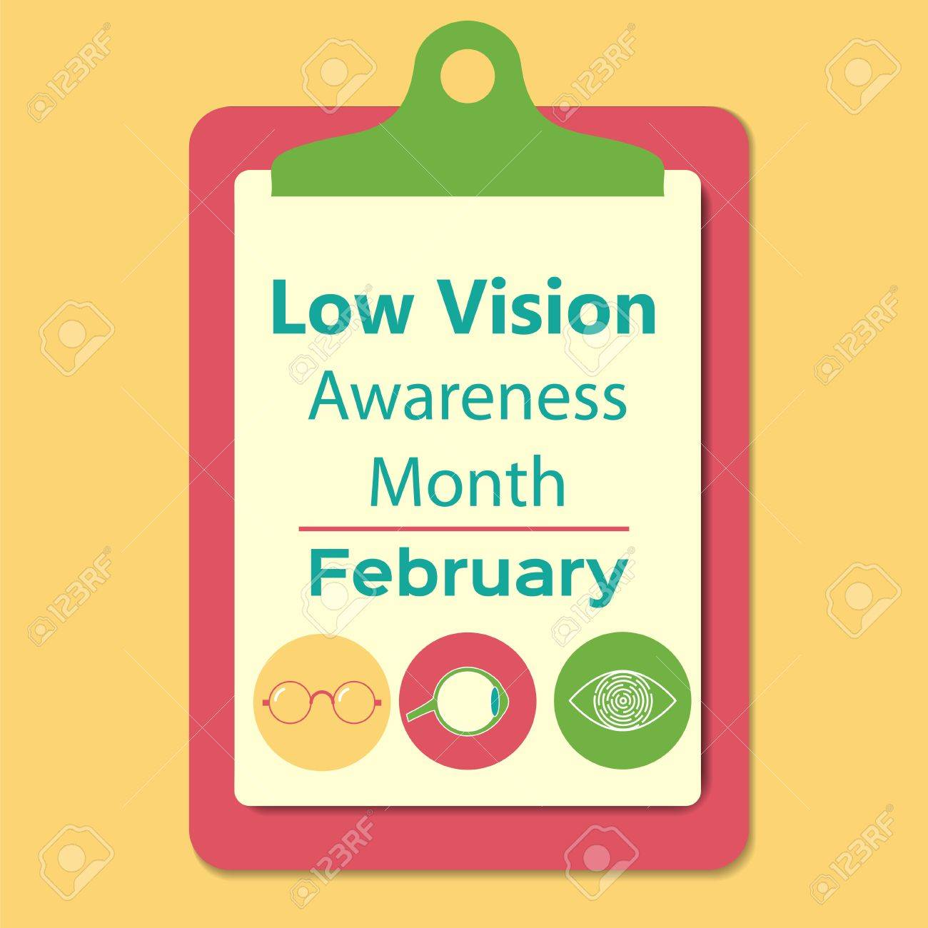 Low vision awareness month sign  Stock vector illustration for