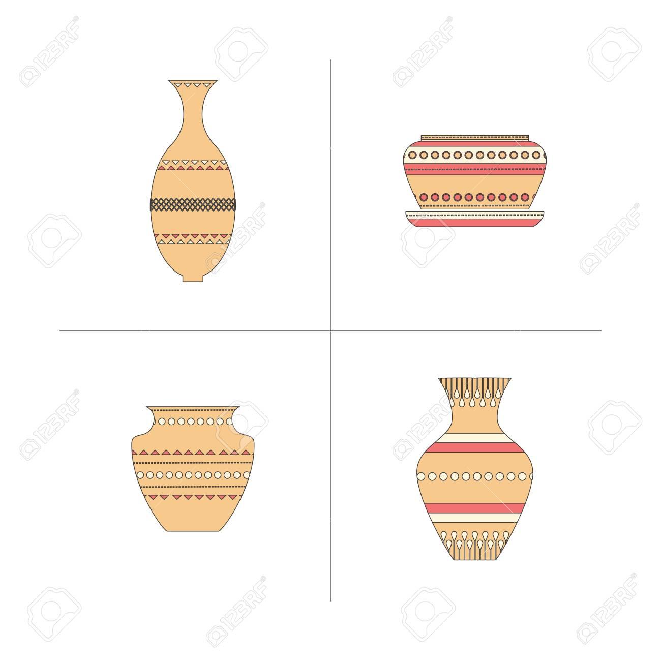 陶器のアイコンを設定します古典的な鍋とボウルの株式ベクトル