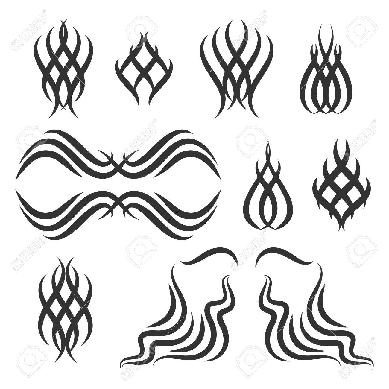 Simple tribal element set. Stock vector illustration of dingbat..