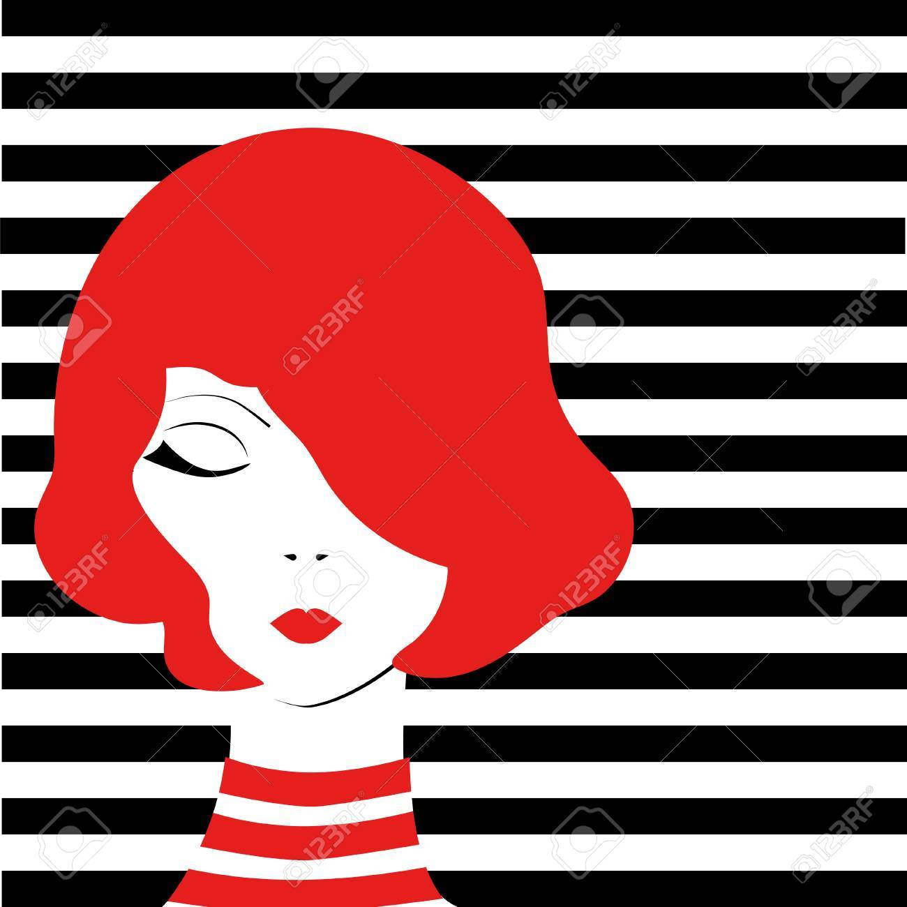 Redhead fashion pop art girl on black and white stripped background stock vector illustration