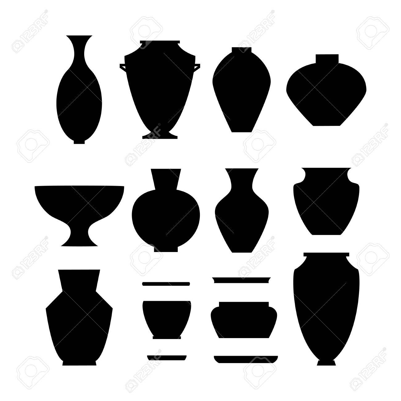 陶器のアイコンを設定します株式ベクトル古典的な鍋とボウル黒